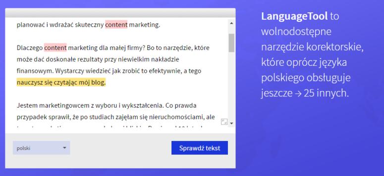 narzędzia dokorekty tekstów online