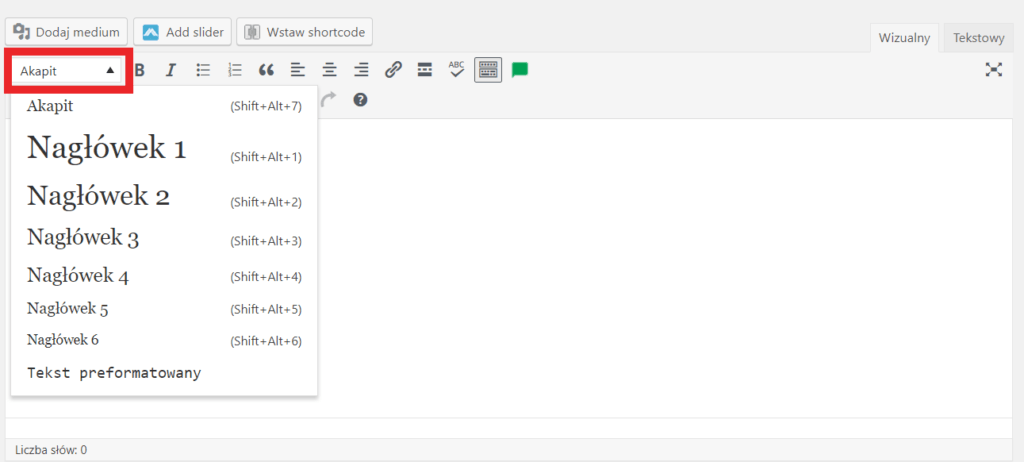 jak wprowadzić nagłówek h2 wordpress