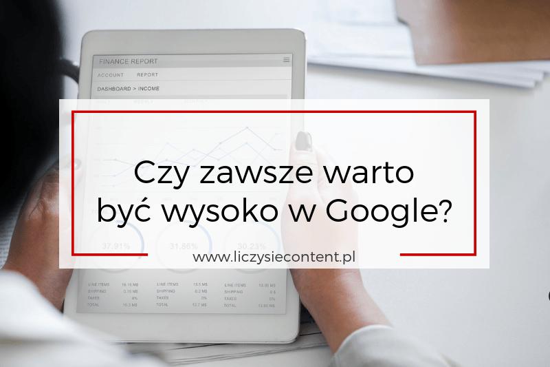 wysokie pozycje Google czy warto