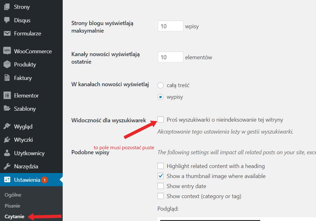 jak usunąć blokadę indeksowania naWordPress