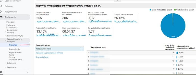 wyszukiwanie wwitrynie Google Analytics