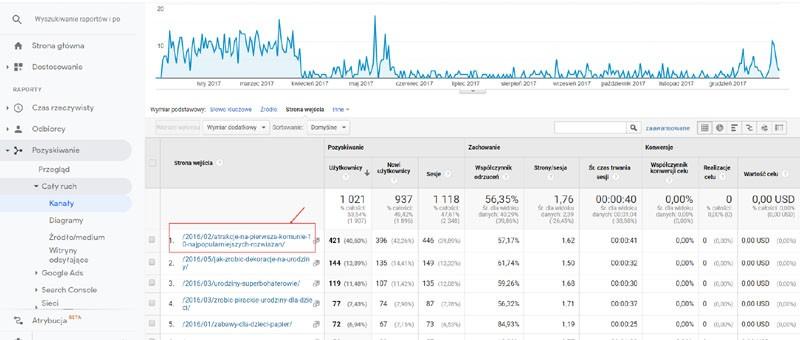 Google Analitics ruch nastronie