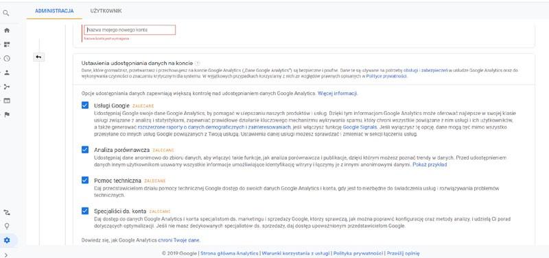 dodawanie kodu Google analitics