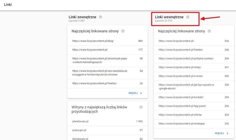 linki wewnętrzne google search console